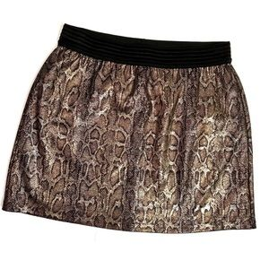 MNG Mango Metallic Snake Print Mini Skirt